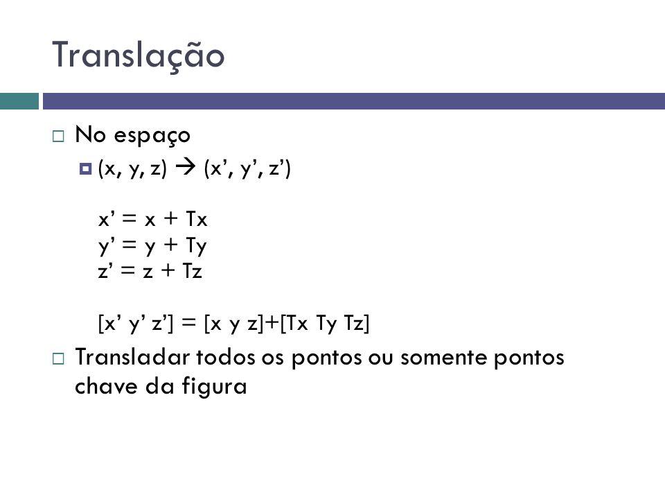 Translação No espaço. (x, y, z)  (x', y', z') x' = x + Tx y' = y + Ty z' = z + Tz [x' y' z'] = [x y z]+[Tx Ty Tz]
